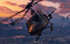 official screenshot helos fighting at sunset