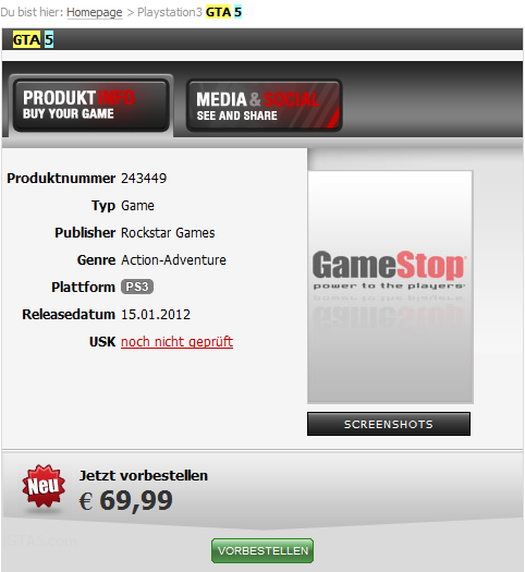 GameStop.de GTA 5 listing
