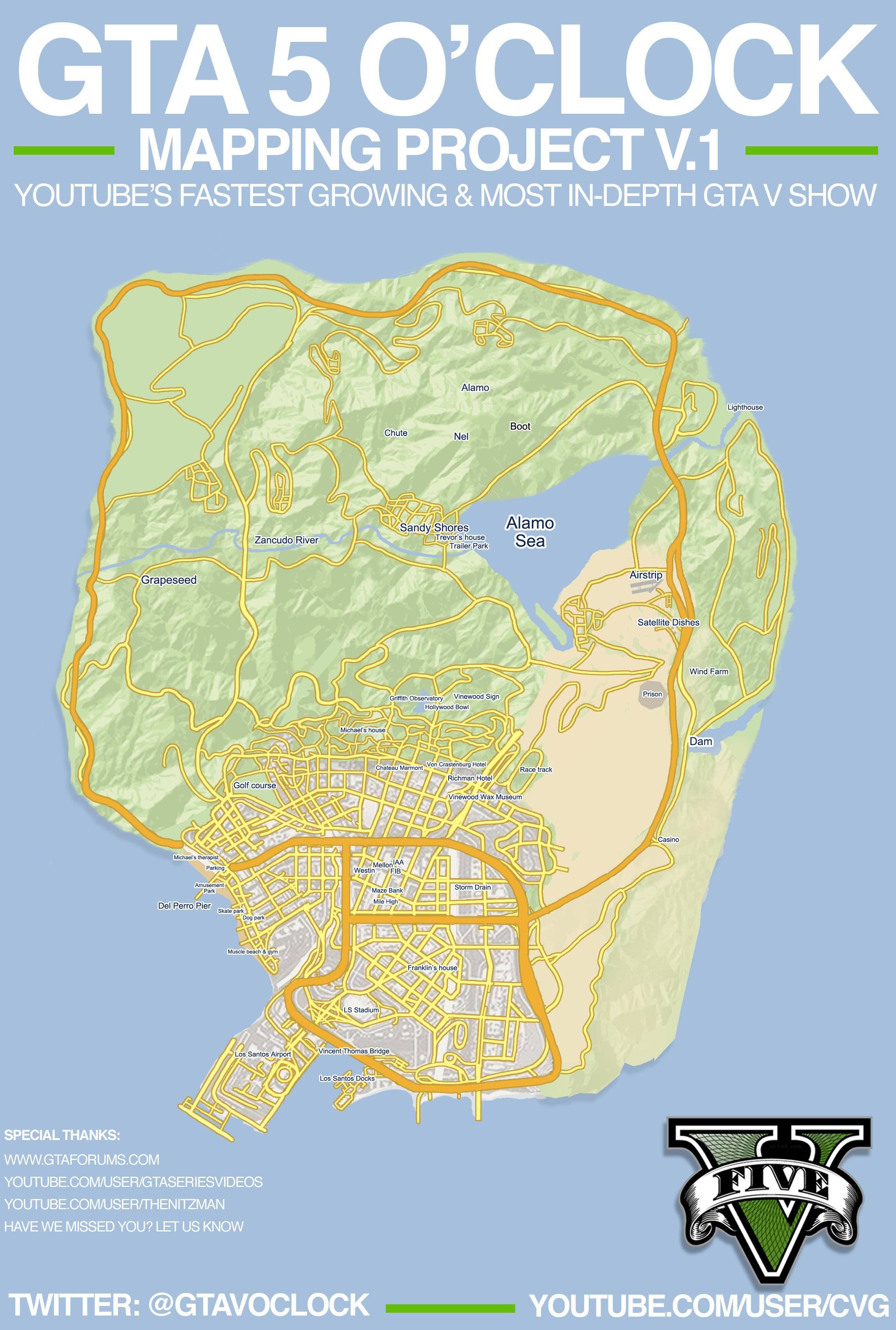 Map grand theft auto v - Gta V Map By Cvg