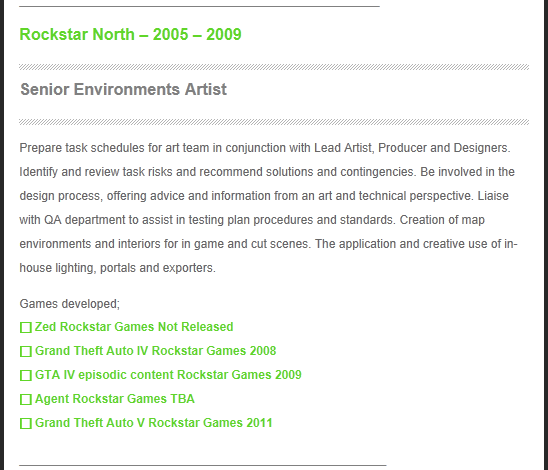 Game Artist Resume Lists GTA V and New T2 Website CitizenSkywatch.com