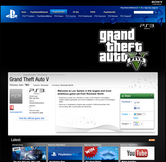 Official UK Playstation GTA 5 Web Page