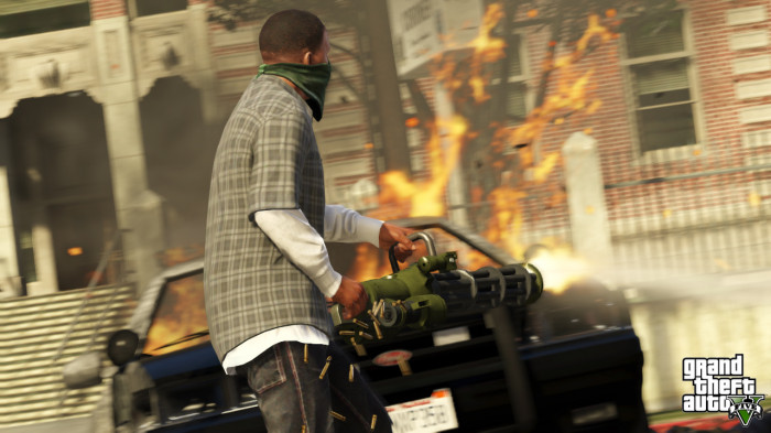 Franklin with a minigun