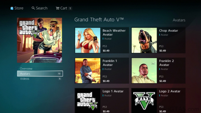 GTA 5 PSN Store Avatars