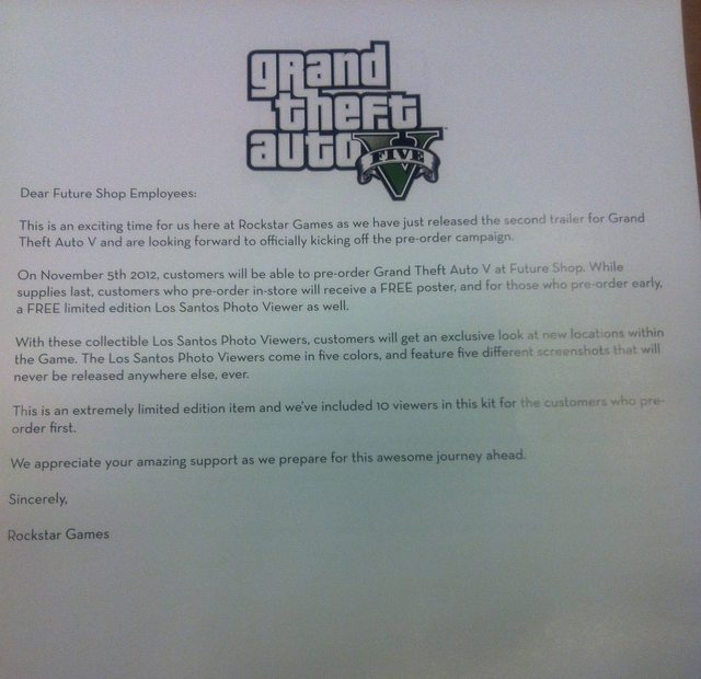 GTA 5 letter to retailers